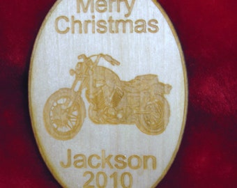 Wooden ornament - Personalized wooden Christmas motorcycle 2016 ornament