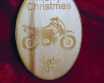 Wooden ornament - Personalized wooden Christmas dirtbike 2016 ornament