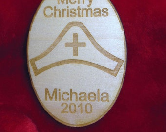 Wooden ornament - Personalized wooden Christmas nurse 2016 ornament