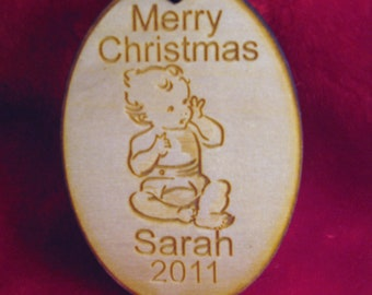 Personalized wooden christmas baby ornament tag