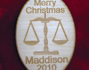 Personalized wooden christmas scales of justice ornament tag