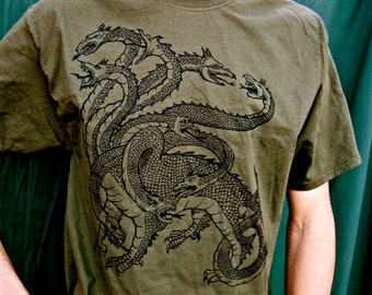 SALE Hydra Tshirt Green Nine Headed Snake S M 2X