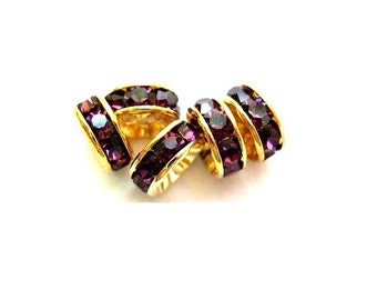 4 Vintage Swarovski rondelle beads dark violet crystal rhinestone on gold color base 8 mm spacer beads for jewelry