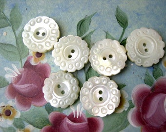 6 Buttons flowers shape antique vintage shell buttons with ornament, RARE, 16mm