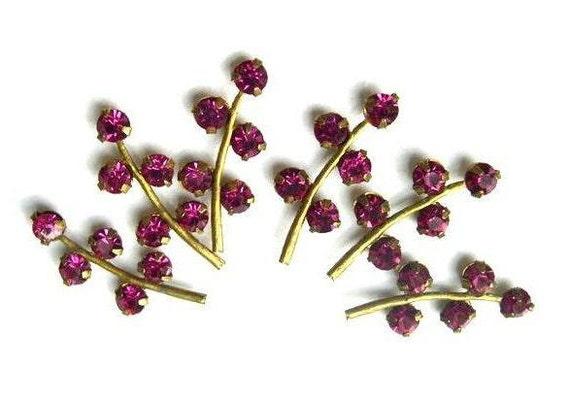 6 Vintage Swarovski leaves shape metal setting with pink crystal rhinestones-RARE