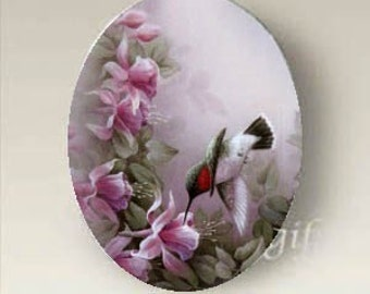 Hummingbird Porcelain Cabochon Flowers Unset Cameo 40x30mm Handmade finding supply