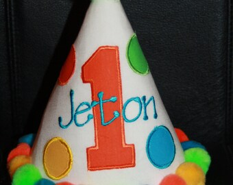 Personalized Big Polka Dots Party Hat & T-shirt Set - 1st Birthday - Boy or Girl - Colorful - Cake Smash - Theme - Name - Party Decor