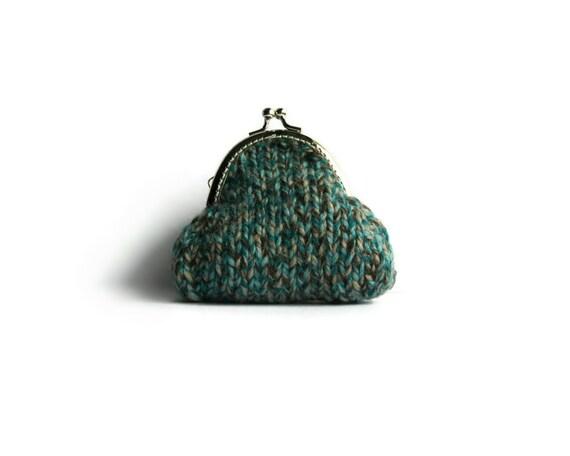 Retro Purse Knitted in Tweed Teal Acrylic Wool Blend Yarn