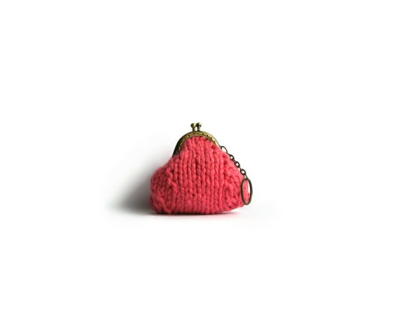 Coin Purse Knitted in Brink Pink Cotton Yarn