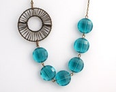 Asymmetrical Teal Faceted Necklace