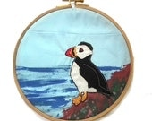 8 inch Puffin Applique and Painted Fabric Hoop Picture