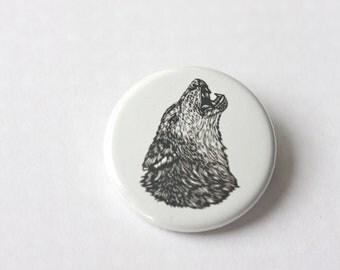 Lone Wolf Small Pinback Button