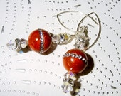 Glamour Puss Sponge Coral with Rhinestones, Swarovski Crystals and Sterling Silver Earrings