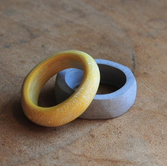 Stacking Rings in Grey and Yellow