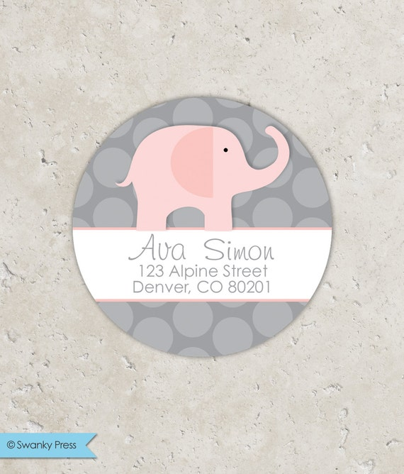 Pink Elephant Stickers . for Return address, Favors, Treat Bags and Envelope Seals