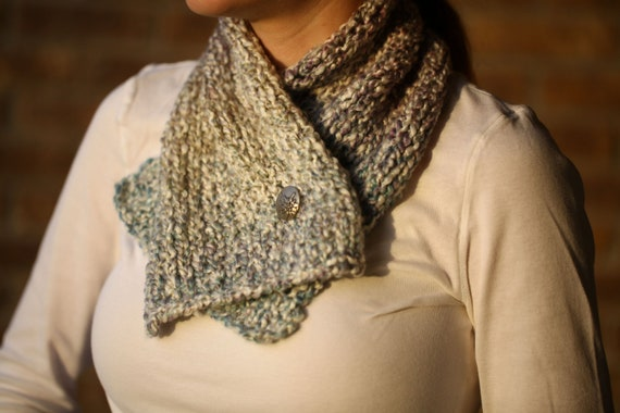 Knit Cowl- Blue with Pewter Button