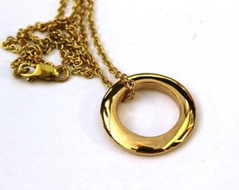 Round Bronze Pendant on Brass Chain Simple Necklace Handmade Lost Wax Casting Modern Jewellery for Her