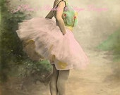 Lovely Color Enhanced Antique Photo Reproduction Gorgeous Ballerina 5x7 Fabric Block