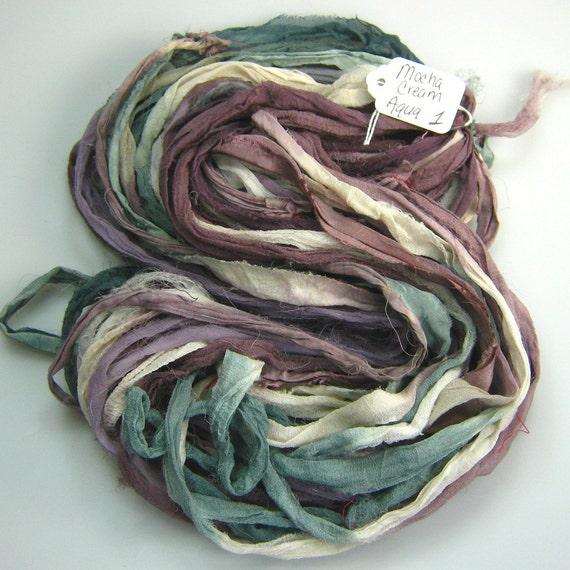 Chiffon silk sari ribbon antique aqua and mocha