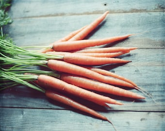 Still life food photography carrots rustic wood farmhouse kitchen wall art 'Carrots'