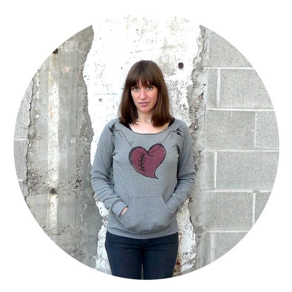 The Rebound - womens sweatshirt - fall fashion - heart in stitches on heather gray eco-fleece pullover - S/M/L/XL