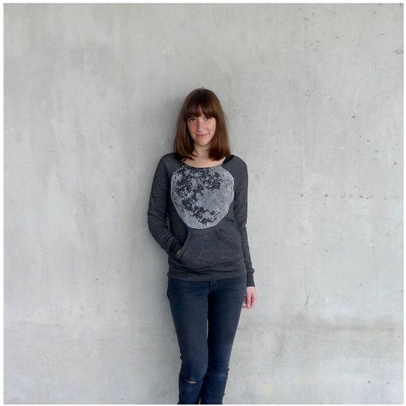 Womens sweatshirt - fall fashion - full moon print on Alternative Apparel heather black eco-fleece pullover - S/M/L/XL