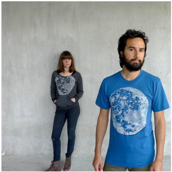 Tshirt for men - organic cotton - LARGE - full moon screenprint on American Apparel galaxy blue t shirts - mens fashion