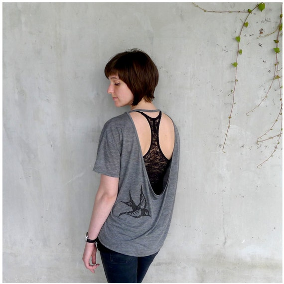 One That Got Away - womens tshirt - MEDIUM - birdcage print on Alternative Apparel open back shirts - womens fashion