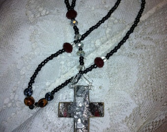 Hand designed wood cross Rosary