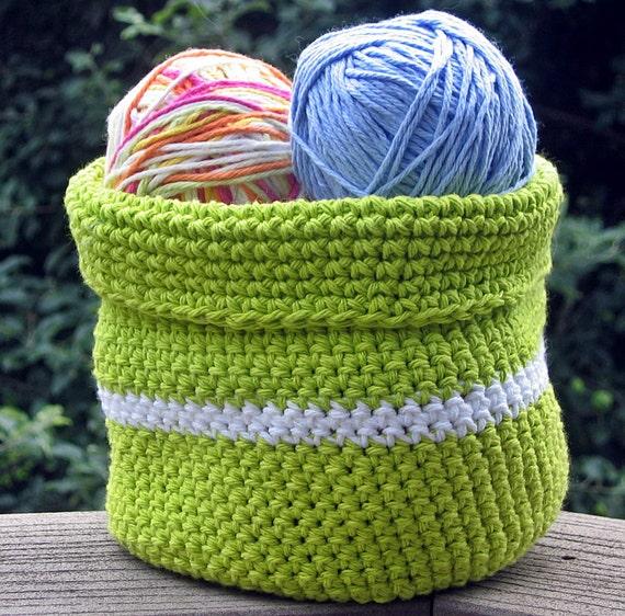 Handmade Crochet Basket : Items similar to handmade crochet basket bowl lime green