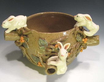 Pottery Bowl, Where the Wild Bunnies Are