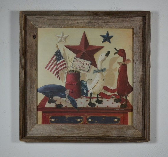 12x12 barnwood frame with United we stand patriotic print