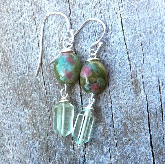 Summer Garden Earrings  - Ruby Fuchsite, Green Amethyst, petite earrings