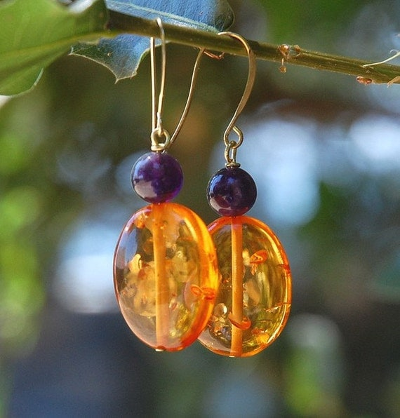 Lavender and Sunshine - amber earrings - on sale