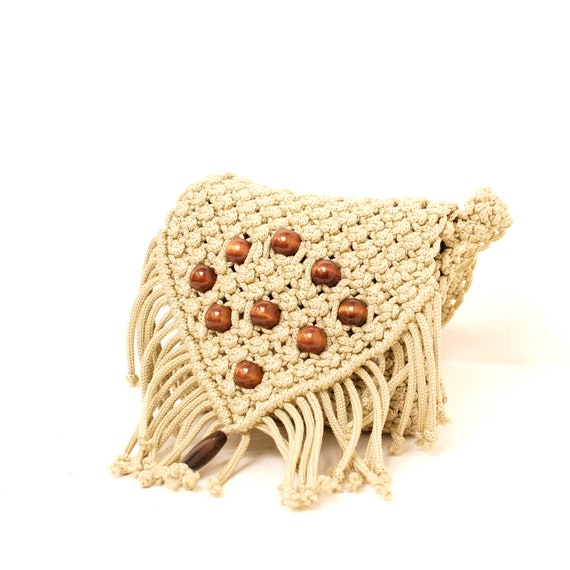 BOHEMIAN crochet rope 70s MACRAME wood beaded FRINGE purse shoulder bag