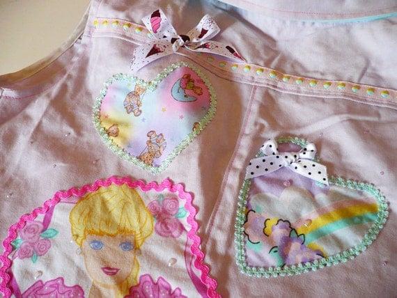 MISS ALPHABET lavender twill pop fairy kei applique button vest large