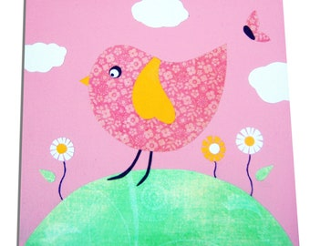 Bird Canvas / Children's Art / Nursery Decor - Pink, Blue, Yellow
