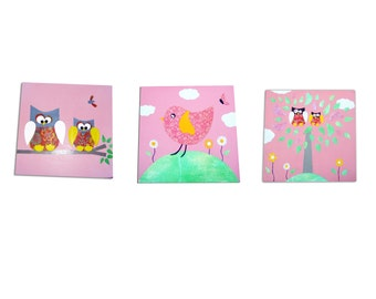Owl and Bird Childrens Art  - 3 Canvases / Nursery Decor - Pink , Yellow , Blue