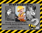 Boy Construction Theme Photo Card Invitation Custom 5x7 - Print Your Own