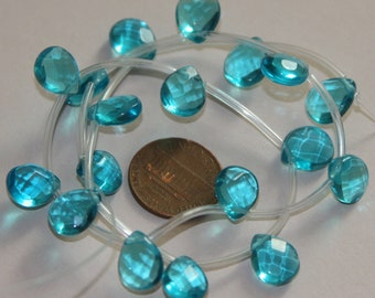 18 pcs of  Sea green glass quartz  faceted flat briolette beads 9X11mm
