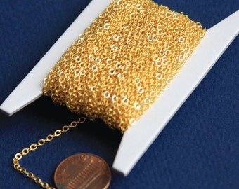 10ft of gold Plated chain 2mm tiny flat solder cable chain