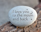 I love you to the moon and back - message paperweight stone by sjEngraving