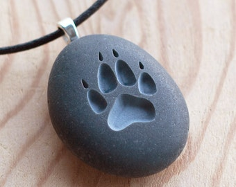 Wolf Paw print pebble jewelry - Double sided engraved stone necklace by sjEngraving