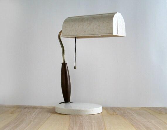 Mid Century Modern Desk Office Lamp - 1950s - Wood and Plastic - Danish Styling
