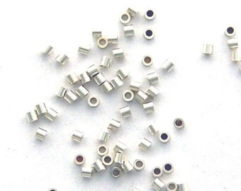 100 - 1X1mm Micro CRIMP BEADS 925 Sterling Silver