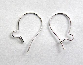 5 Pairs - Kidney Earwires 24 Gauge 925 Sterling Silver
