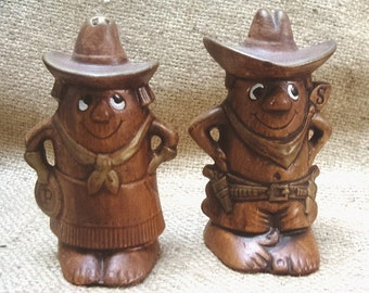 Treasure Craft Cowboy and Cowgirl Salt and Pepper Shakers