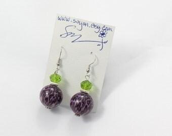 Purple Leopard Earrings