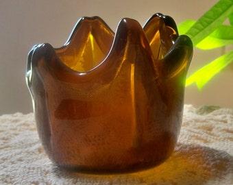 Recycled Amber Glass Bottle Kilnformed Candle Holder