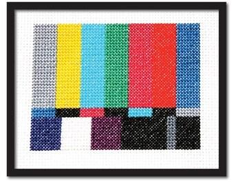 TV Test Screen Cross Stitch Pattern Instant Download